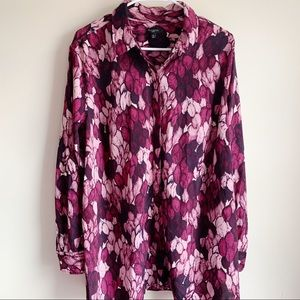 Talbots Woman Purple Feather Button Career Blouse